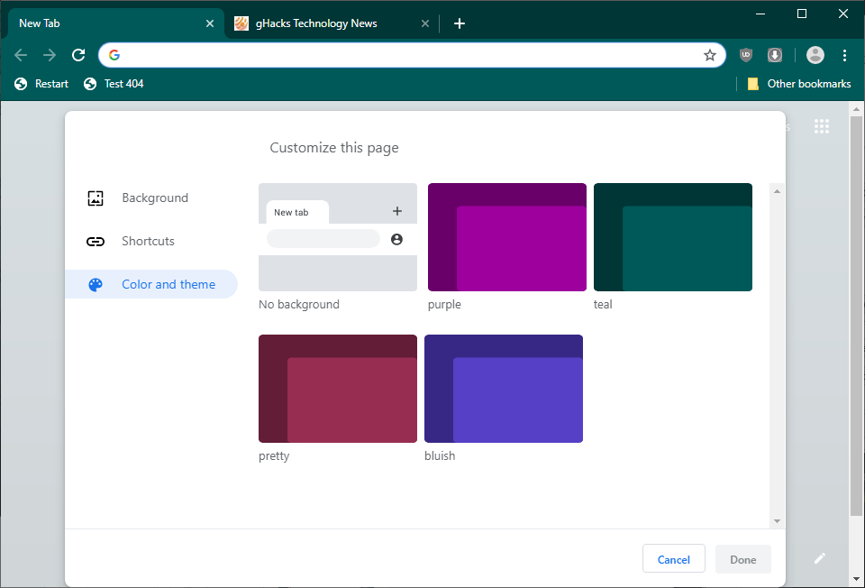 chrome change interface color scheme