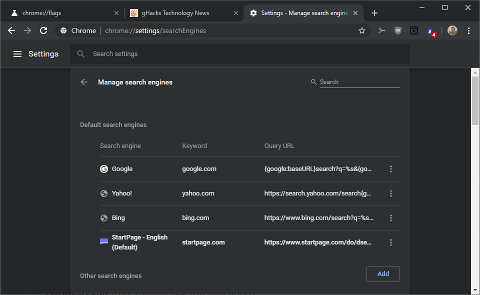 chrome default search engine