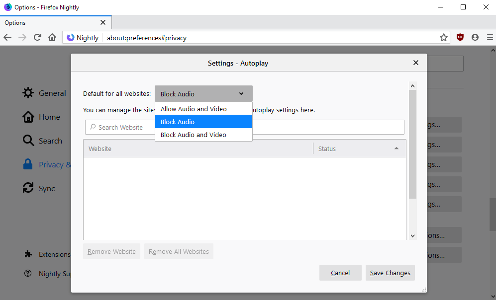 firefox block-audio video autoplay settings