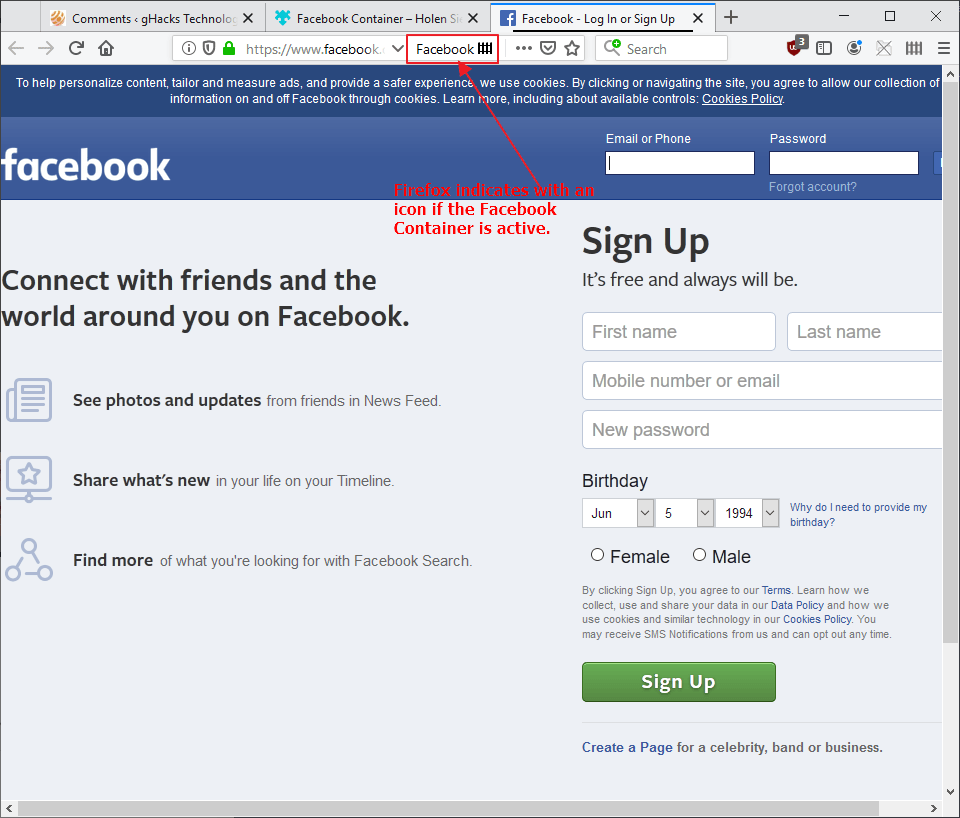 firefox facebook container