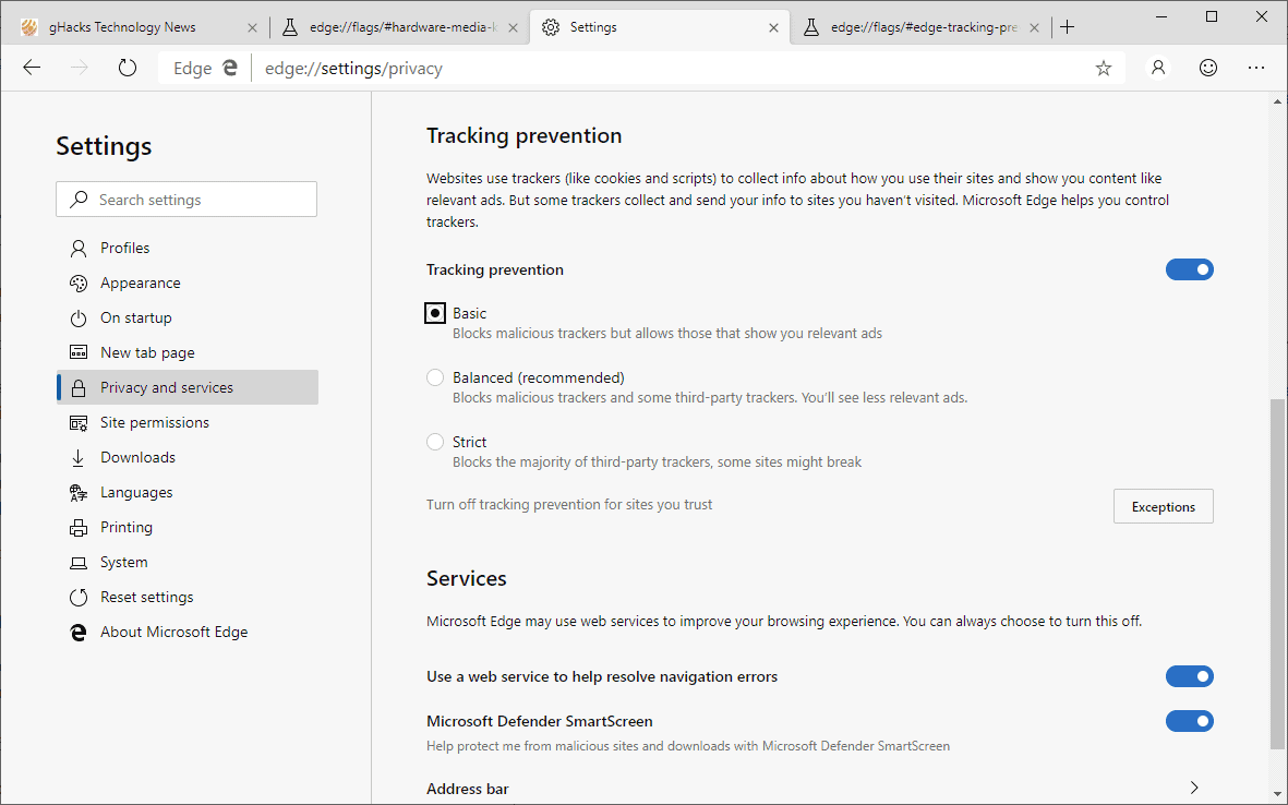 A look at Microsoft Edge's Tracking Prevention feature