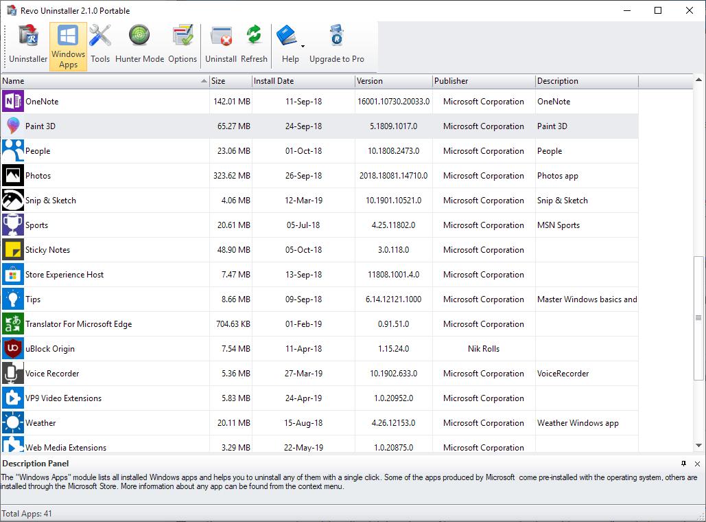 revo uninstaller remove windows apps
