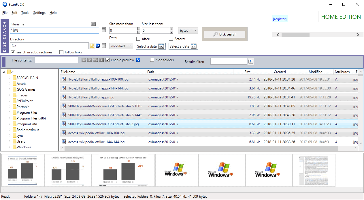 scanfs previews file search windows
