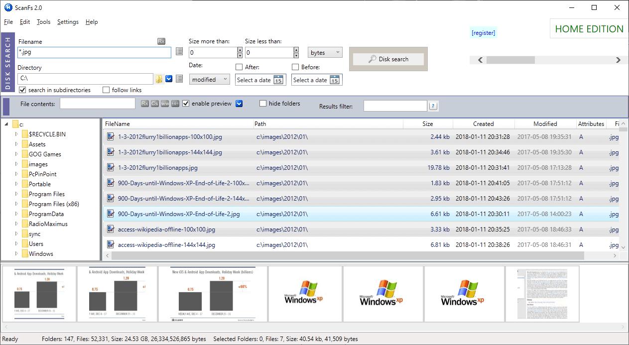 scanfs previews file search windows