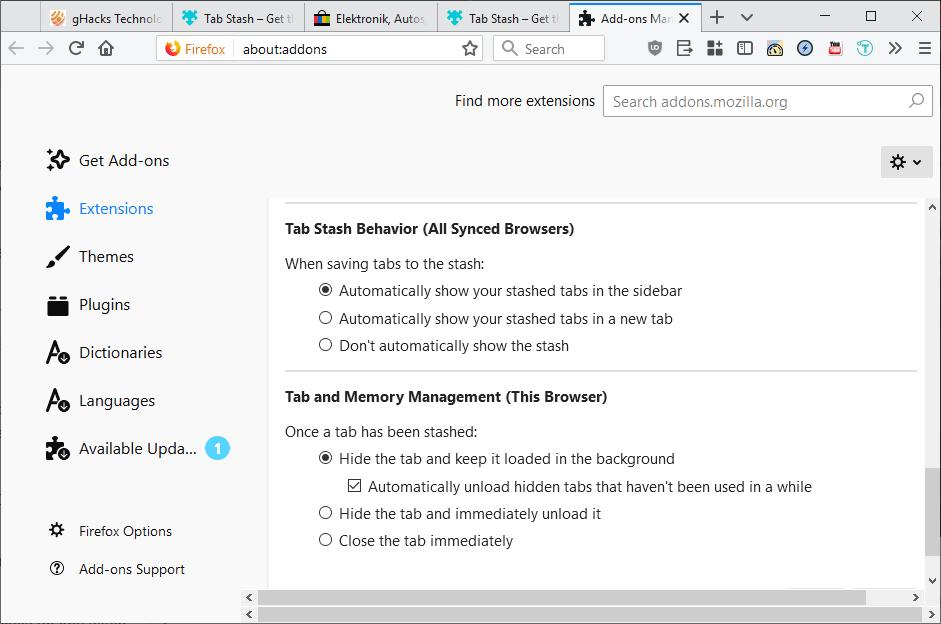 tab stash options