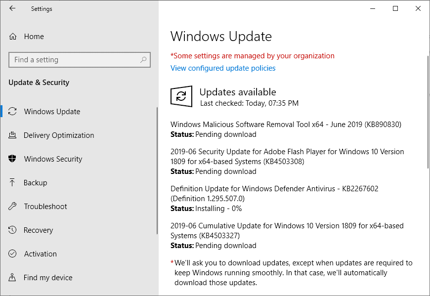 Microsoft Windows Security Updates June 2019 overview