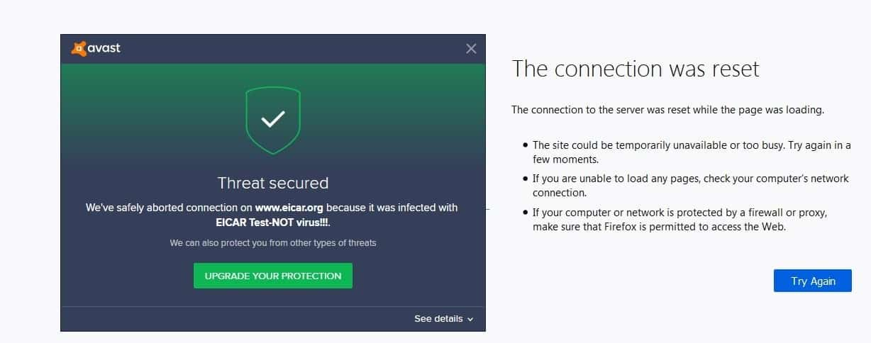 Avast Free Antivirus - Eicar blocked