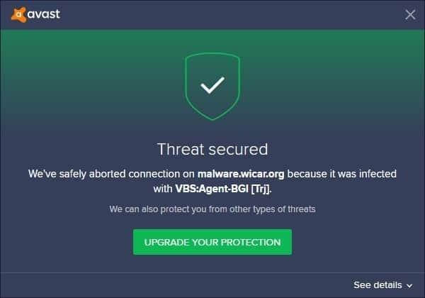 Avast Free Antivirus - wicar blocked