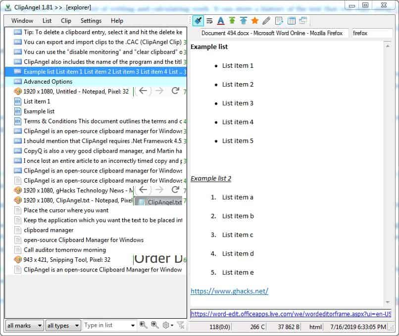 ClipAngel is an open-source clipboard manager for Windows