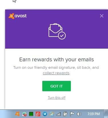 Email signature in Avast Free Antivirus