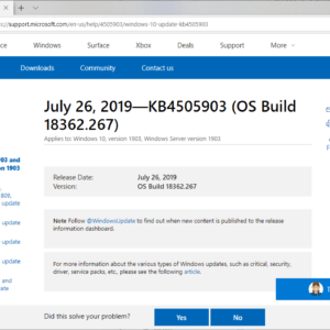 KB4505903 windows 10 version 1903