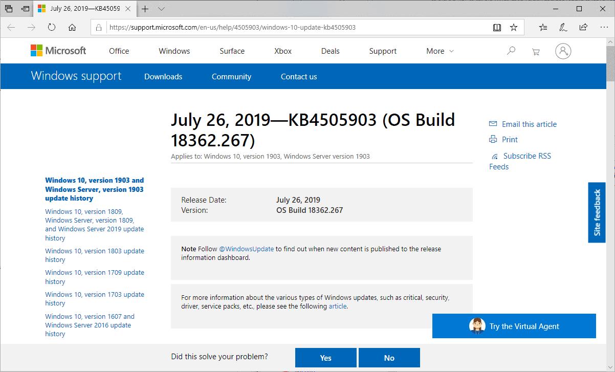 KB4505903 windows 10 version 1903