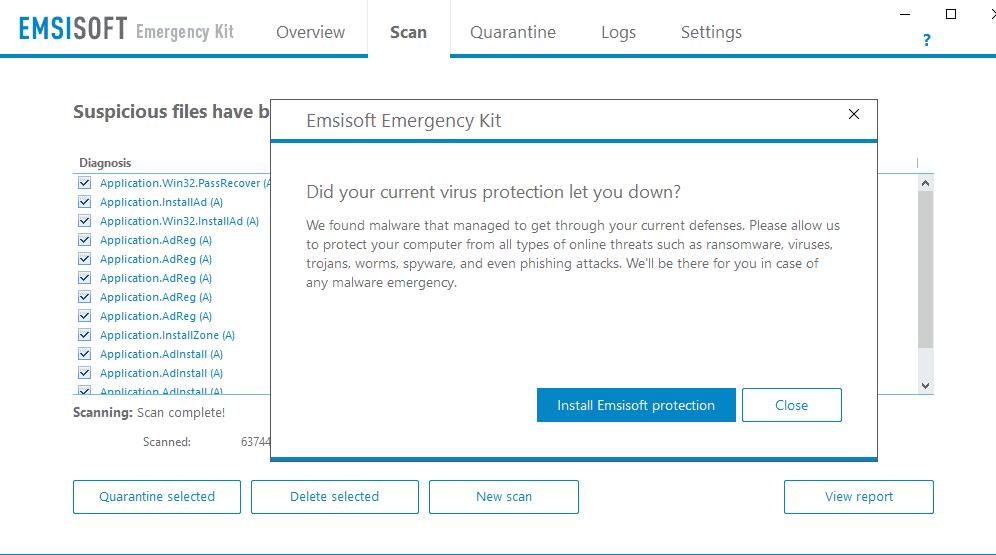 emsisoft upgrade prompt