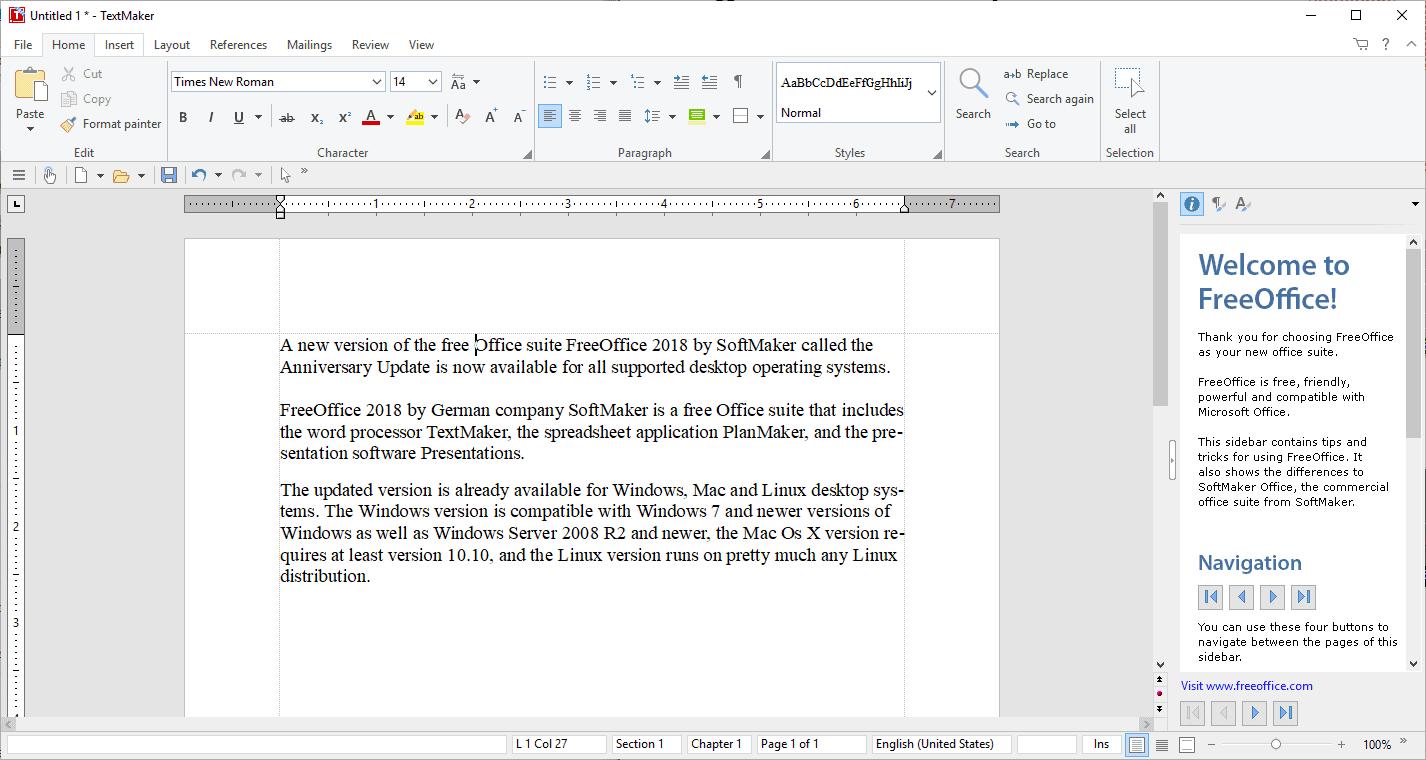 freeoffice 2018 textmaker