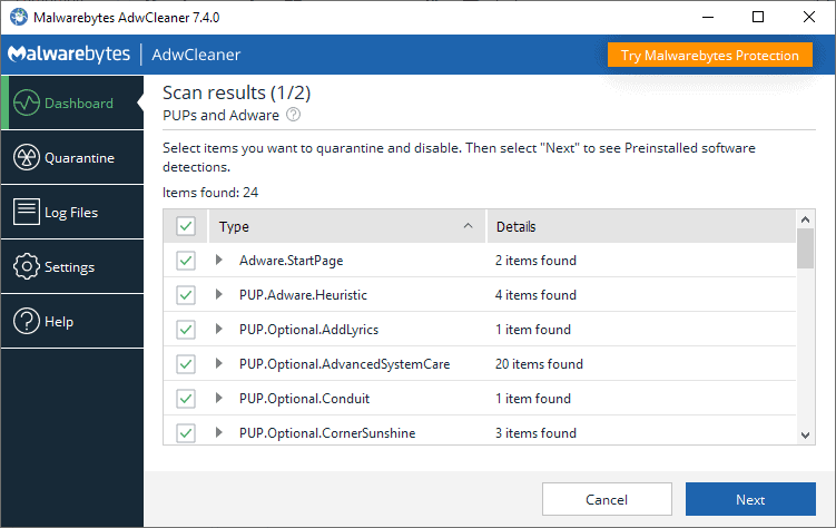 malwarebytes adwcleaner 7.4