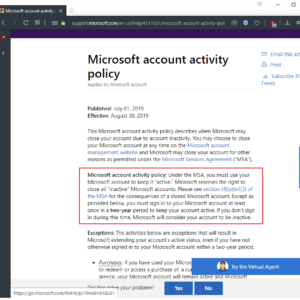 microsoft account policy