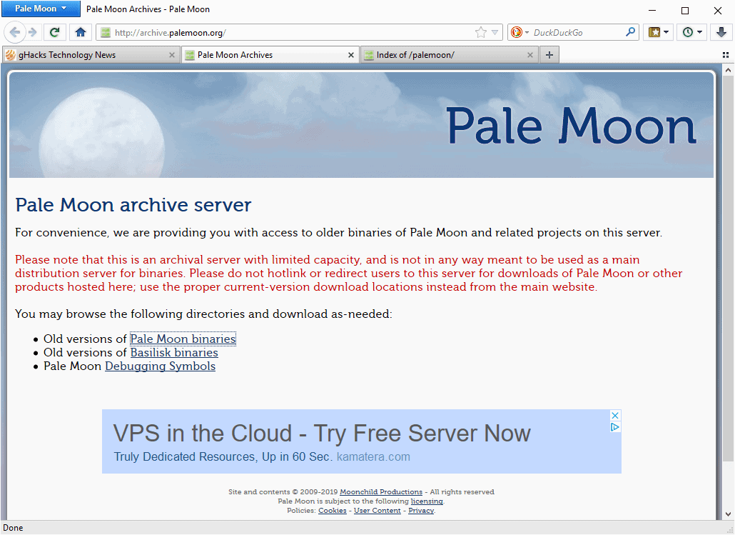 Pale Moon's Archive Server hacked and used to spread malware