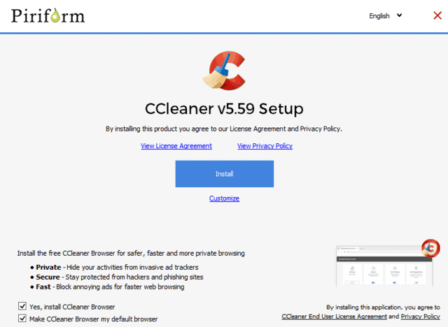 piriform-new ccleaner browser offer