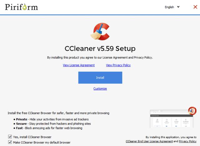 piriform-new ccleaner browser offer