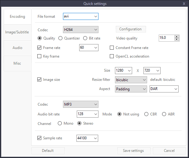 quick conversion settings