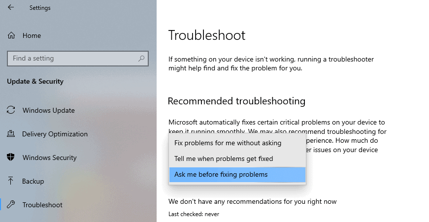 recommended troubleshooting states