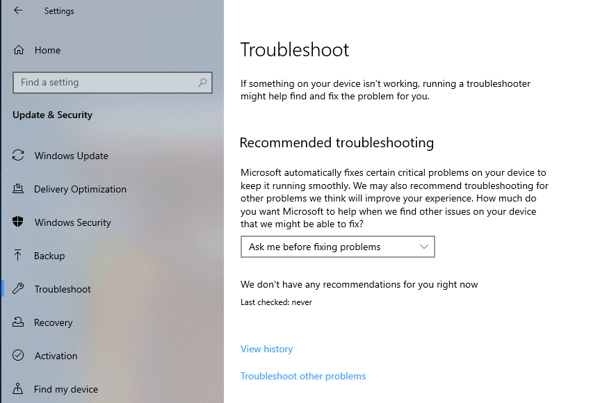 How to configure Recommended Troubleshooting on Windows 10