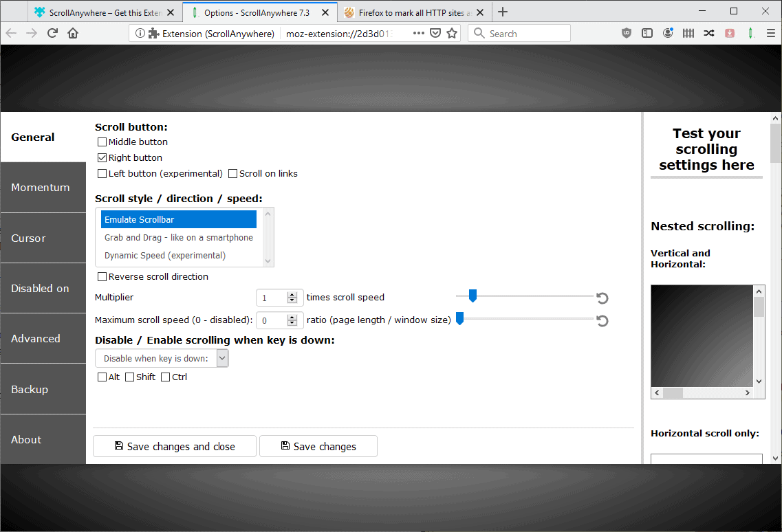 scrollanywhere options