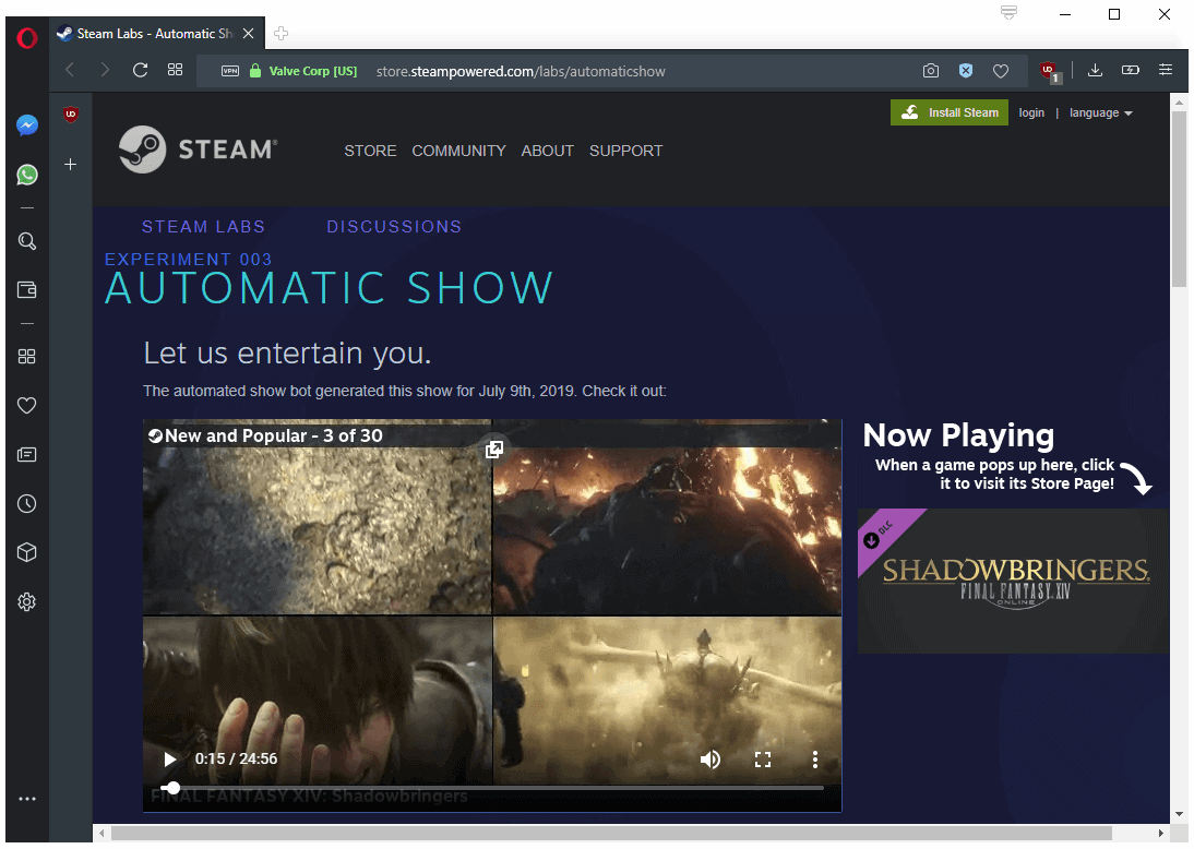 steam automatic show experiment