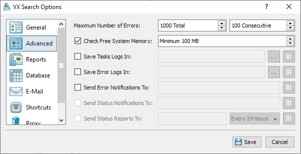 vx search options