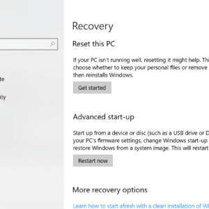 windows 10 recovery reset pc