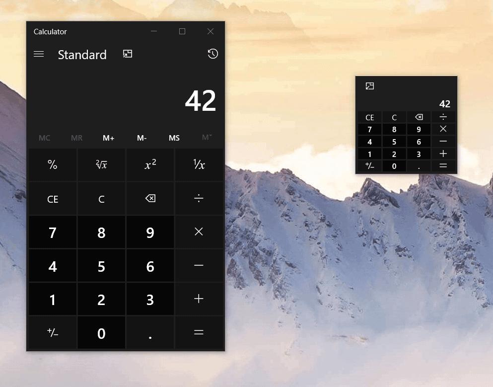 windows calculator on top tiny