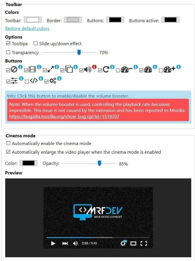 Enhancer for YouTube settings