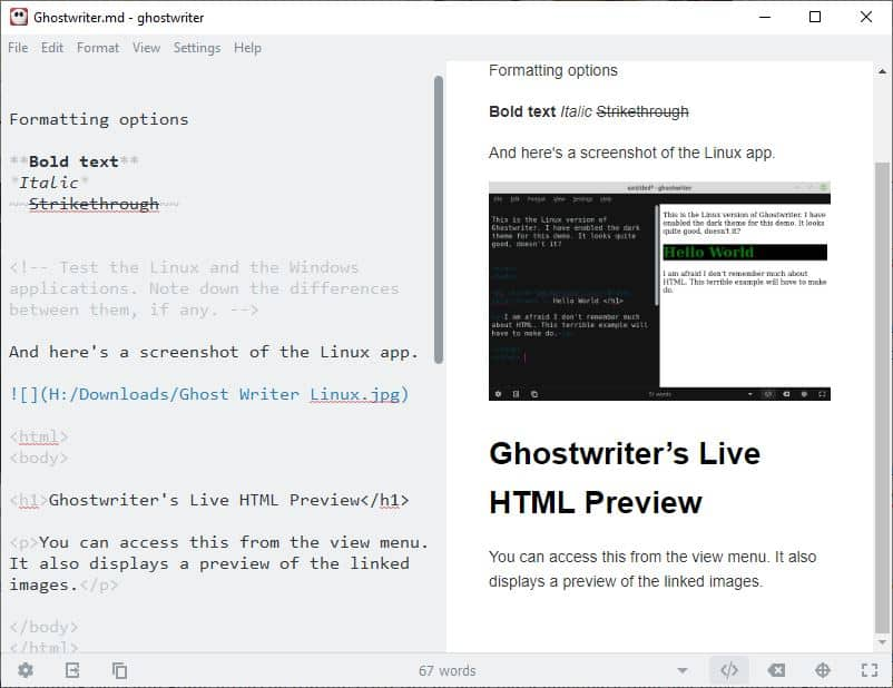 Ghostwriter is an open source markdown editor with a polished interface