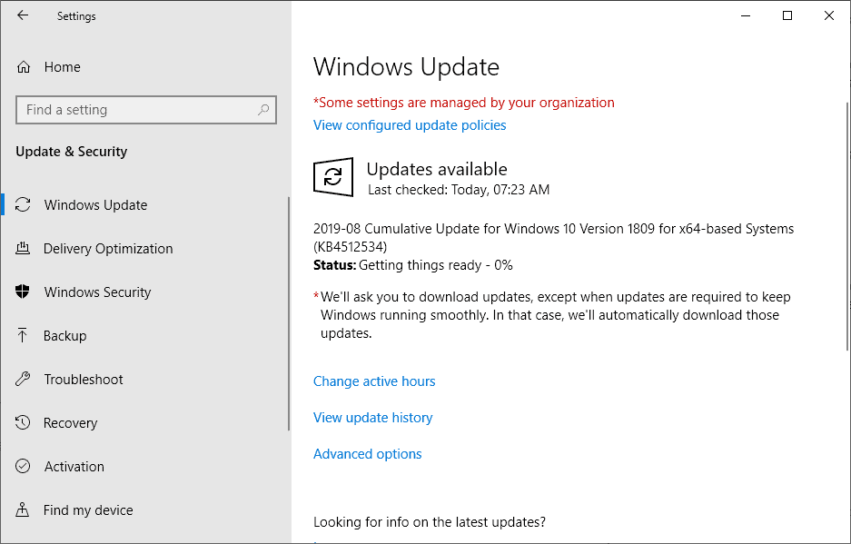 KB4512534 windows 10 1809