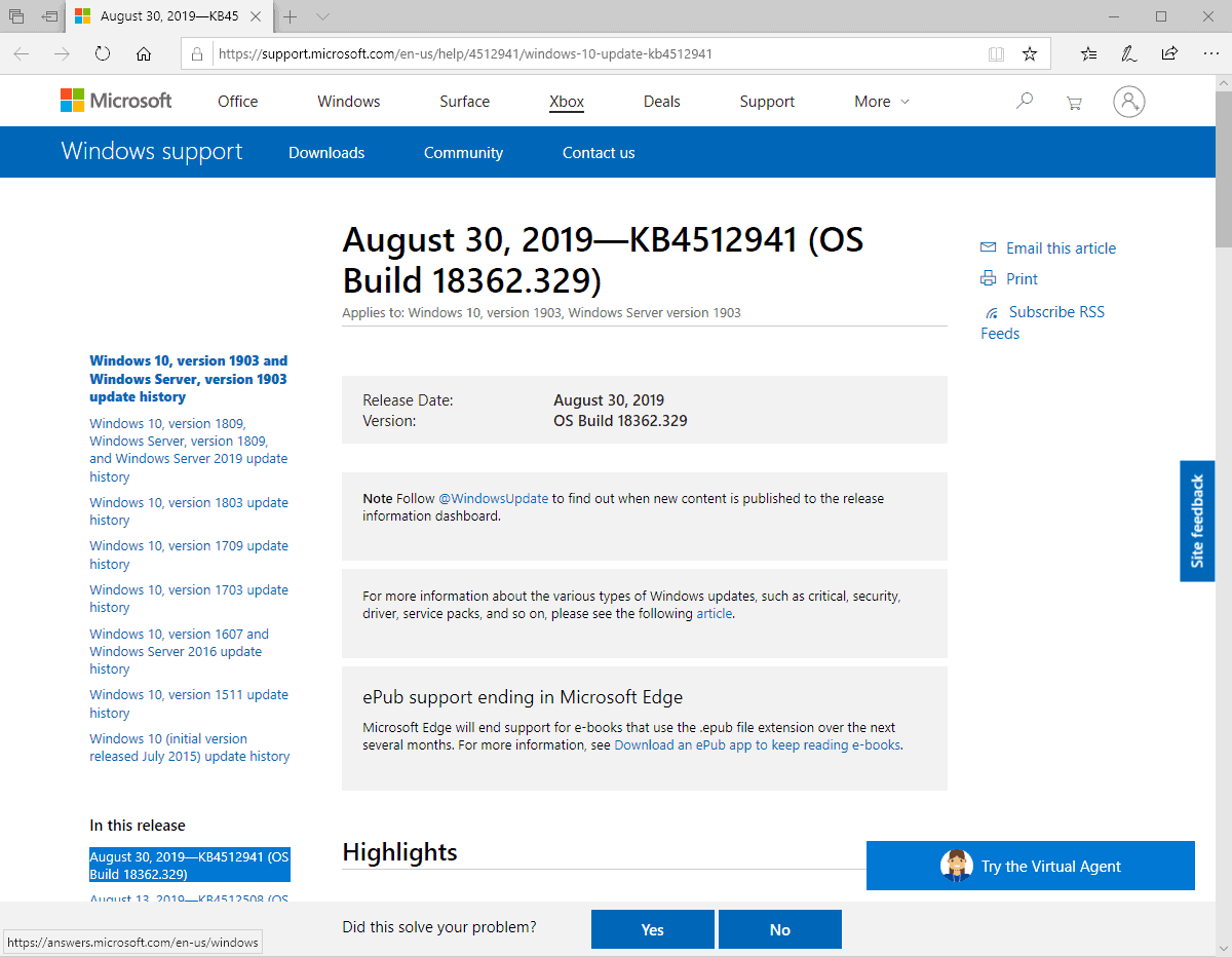 KB4512941 windows 10 1903