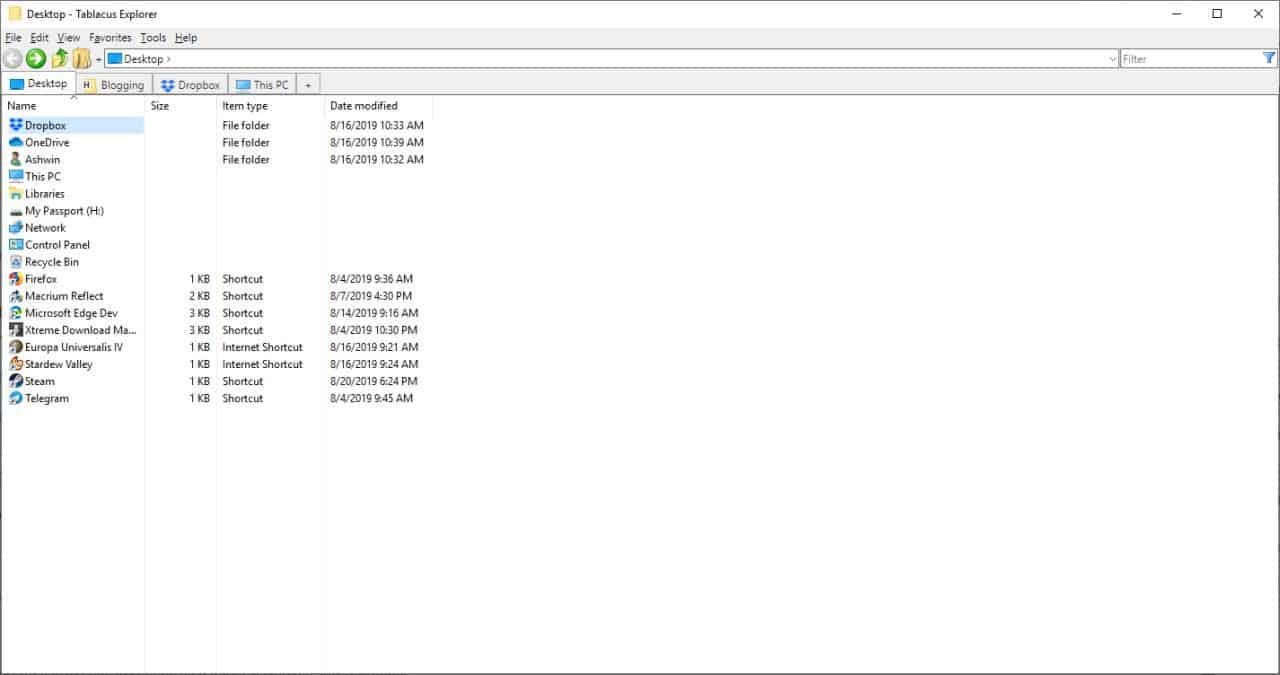 Tablacus Explorer file manager
