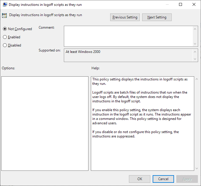 display instructions in logoff scripts as they run