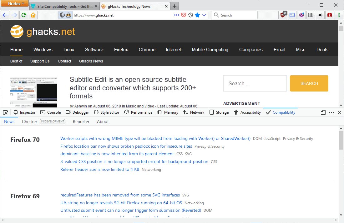 firefox site compatibility tools