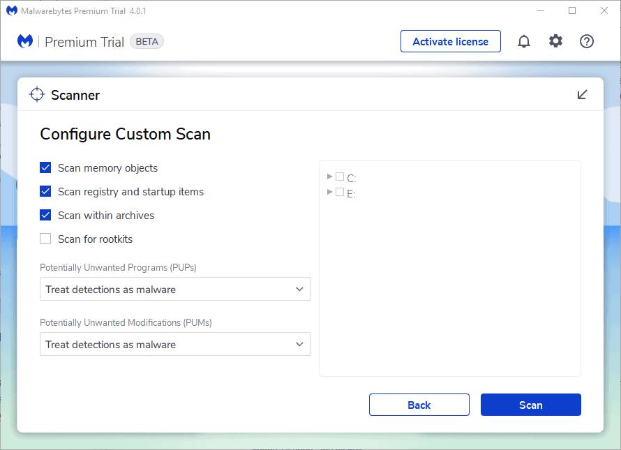 malwarebytes 4 custom scan