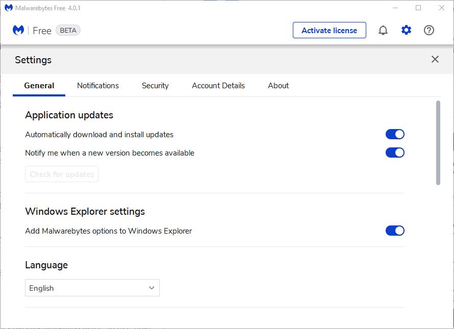 malwarebytes 4 free settings