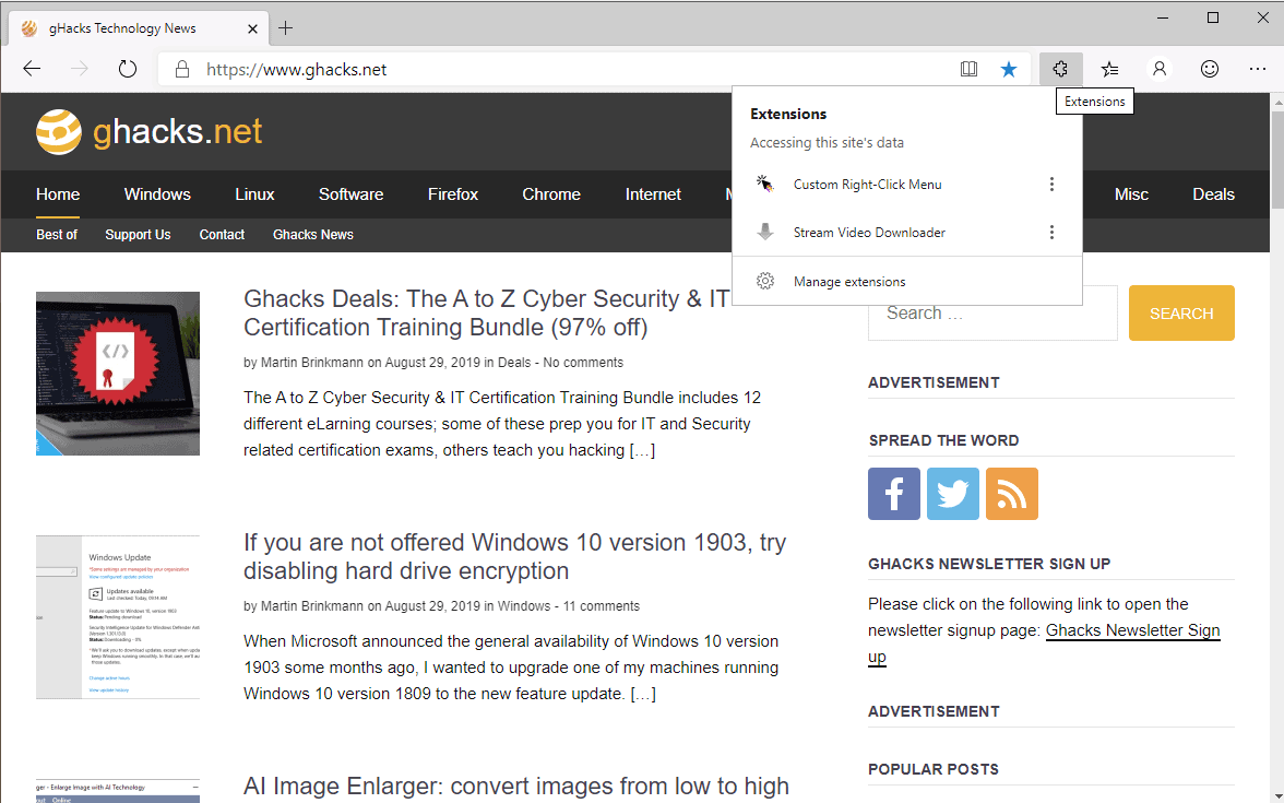 How to add an extensions menu to Microsoft Edge (Chromium)