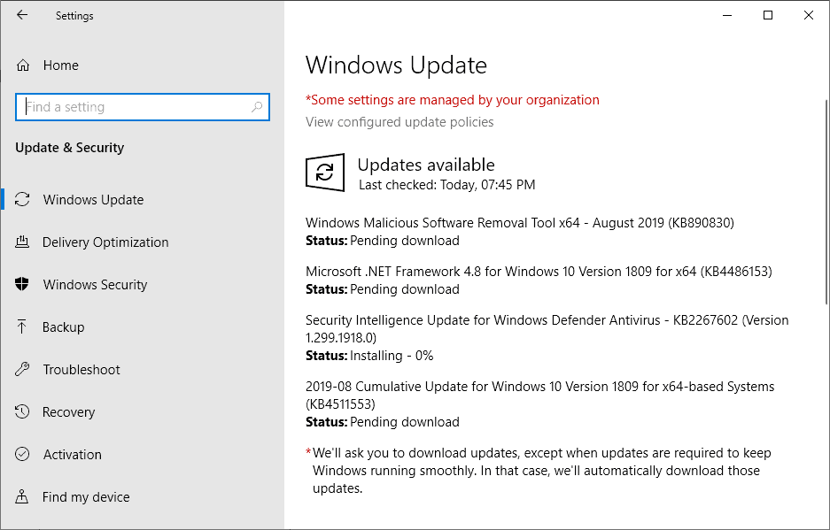 Microsoft Windows Security Updates August 2019 overview