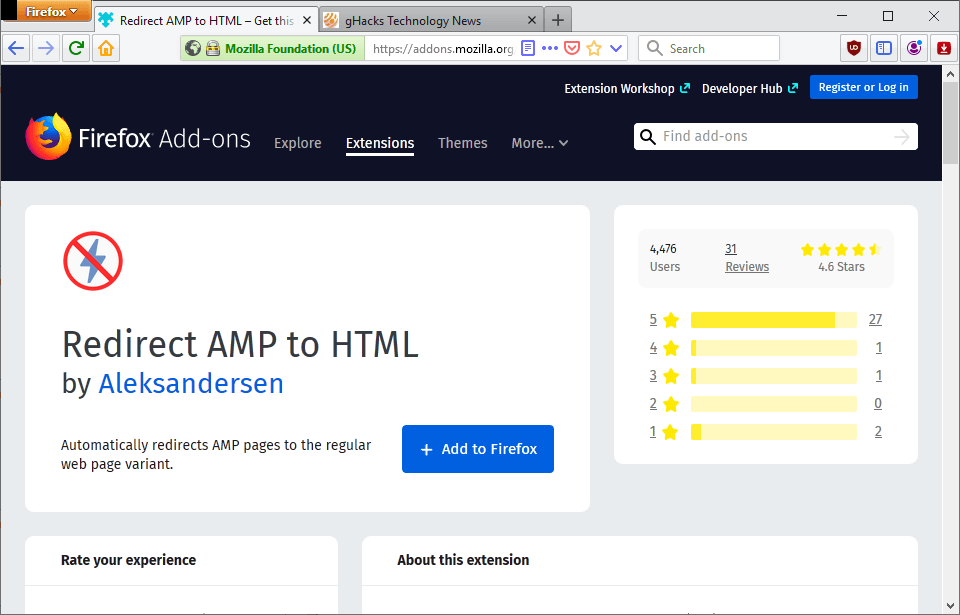 redirect amp to html