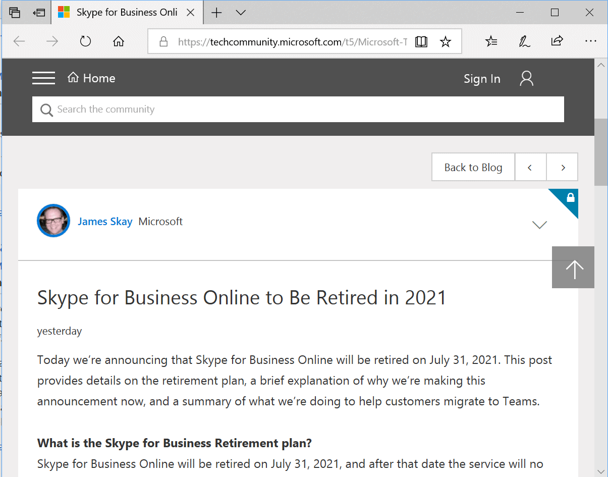 Skype for Business Online will be retired in 2021