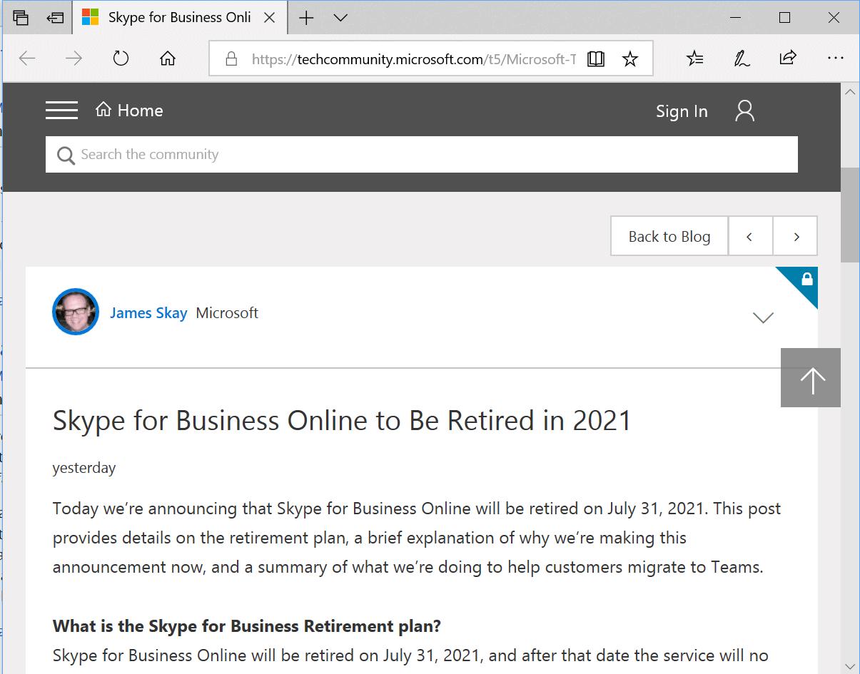 skype for-business online retire