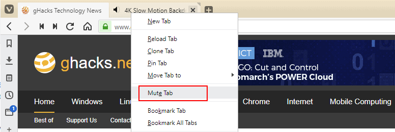 vivaldi 2.7 mute tab - Vivaldi 2.7 is out: here is what is new