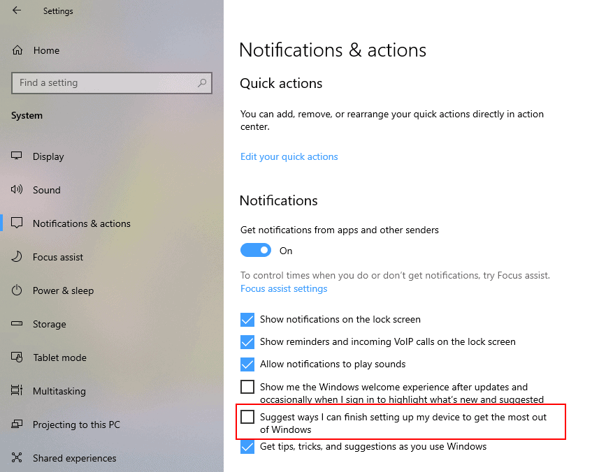 windows 10 disable suggestions get more