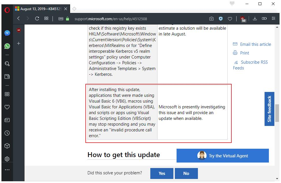 windows visual basic issue august 2019