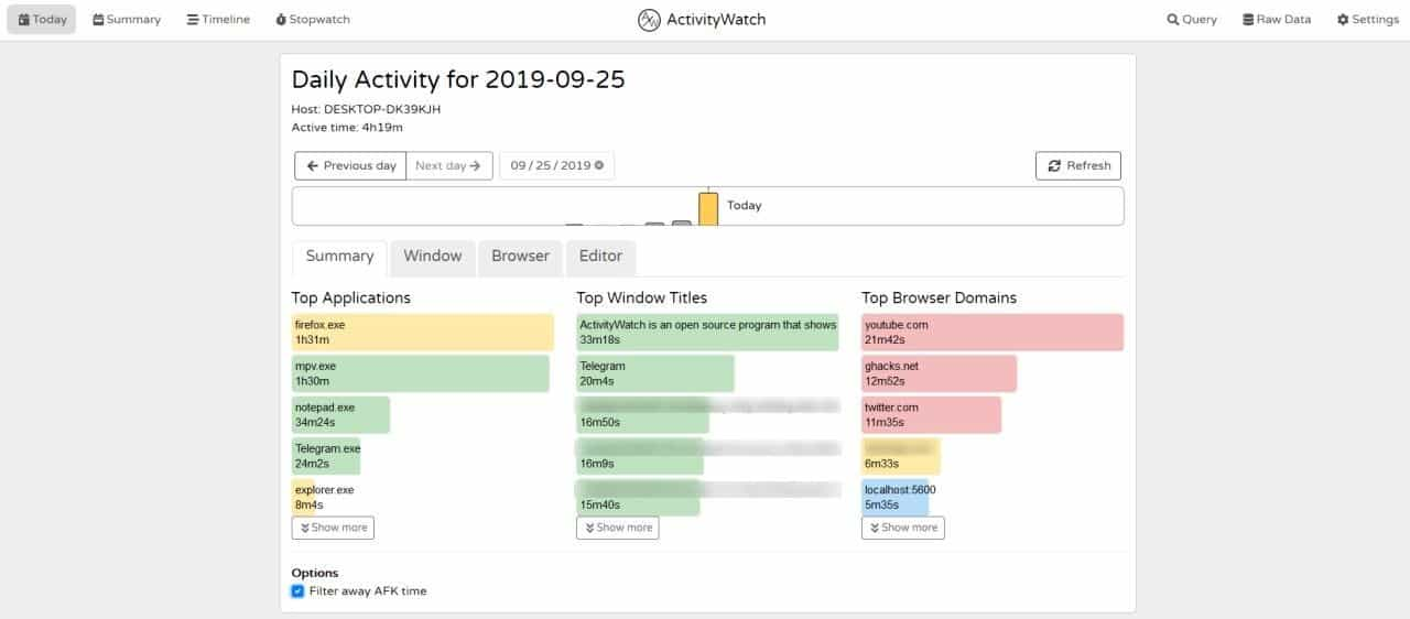 ActivityWatch is an open source personal activity tracker for Windows, Linux and macOS