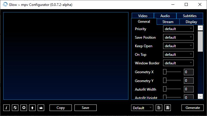 Glow is a settings generator for mpv